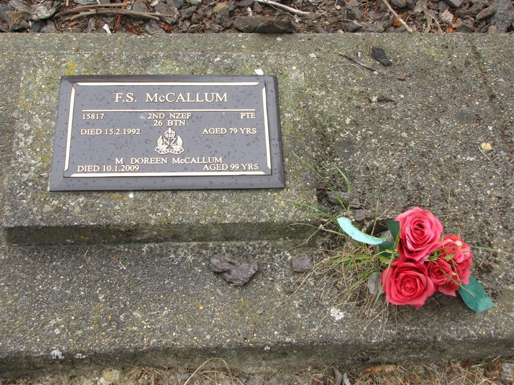 Fergus Stewart McCallum B 05 Aug 1912 D 15 Feb 1992 New