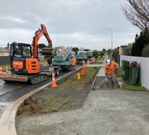 Contractors work on footpath upgrades